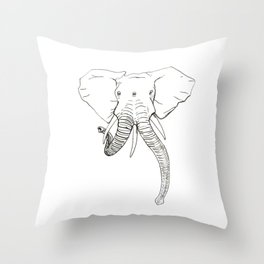 Conjoined Elephant Throw Pillow