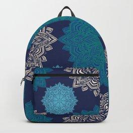 Folk Floral Damask Denim Blue Backpack