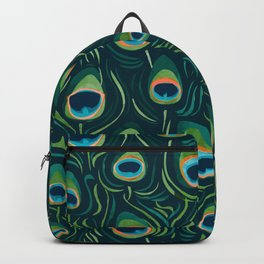 Beautiful Watercolor Teal Peacock Feathers Backpack