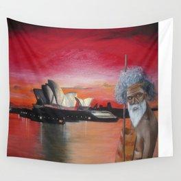 Australia. Landscape. Sidney. Tribe. Orange. Black. Gold. Wall Tapestry