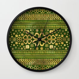 Shamrock Four-leaf Clover Green Wood and Gold Wall Clock