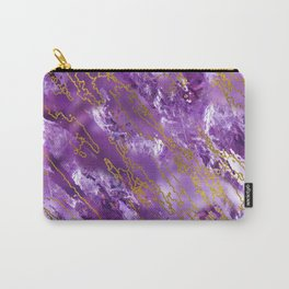 Amethyst Quartz and gold texture Carry-All Pouch
