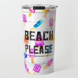 Summer beach typography ice cream watercolor wood Travel Mug