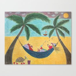 Ozzi and Lulu Hammock time Canvas Print