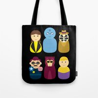 watchmen Tote Bags featuring Watchmen by PinkRadish