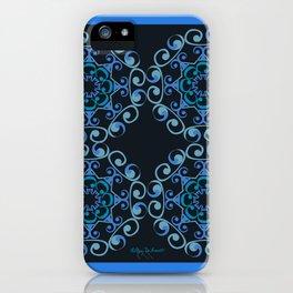 Grace Mandala Tiled - Blue Black iPhone Case