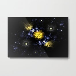 Abstract 3d flowers among the stars in space Metal Print