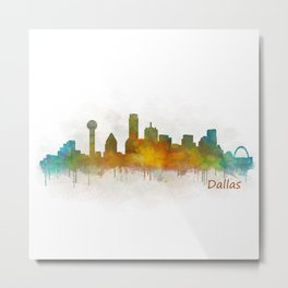 Dallas Texas City Skyline watercolor v03 Metal Print