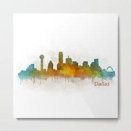Dallas Texas City Skyline watercolor v03 Metal Print