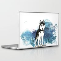 husky Laptop & iPad Skins featuring Siberian Husky by Cami Landia