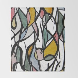 Geometric Abstract Watercolor Ink Throw Blanket