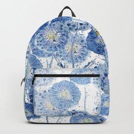 blue indigo dandelion pattern watercolor Backpack