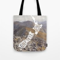 new zealand Tote Bags featuring NEW ZEALAND by cabin supply co