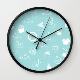 Cupcake Pastry Background - Turquoise 07 Wall Clock