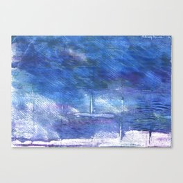 Chinese blue abstract watercolor Canvas Print