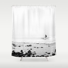 Surfing Malibu Shower Curtain