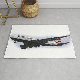 British Airways Boeing 747 Art Rug