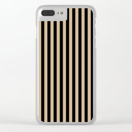 Tan Brown and Black Vertical Stripes Clear iPhone Case