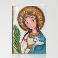 agnes cecile Stationery Cards featuring Saint Agnes by Flor Larios Art
