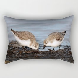 A Pair of Sanderlings Shares: A Meal is Better When Eaten Together Rectangular Pillow