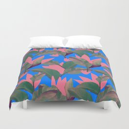 Retro Luxe Lilies Electric Blue Pattern Duvet Cover