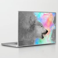 hobbes Laptop & iPad Skins featuring Breathing Dreams Like Air (Wolf Howl Abstract II: Gray) by soaring anchor designs