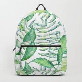 Tropical Green Leafs Pattern Backpack