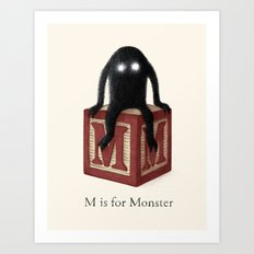 M is for Monster Art Print