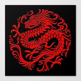 Traditional Red Chinese Dragon Circle Canvas Print