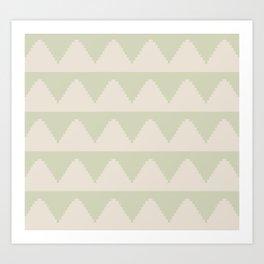 Geometric Pyramid Pattern - Soft Green Art Print