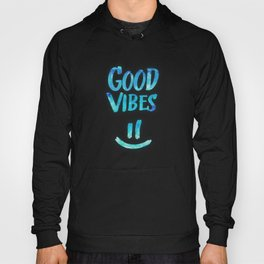 Good Vibes - Funny Smiley Statement / Happy Face (Blue Stars Edit) Hoody