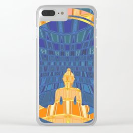 Blue and Orange Geometric Buddha Abstract Clear iPhone Case