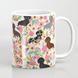 Dachshund floral dog breed pet patterns doxie dachsie gifts must haves Coffee Mug