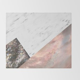 Marble with sequins and mother of pearl Throw Blanket
