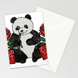 Panda with red rubies and red roses Stationery Cards