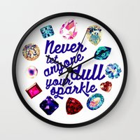 gem Wall Clocks featuring GEM by Liz Haywood