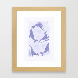 Hand-Drawn Humpback Whale Song in Indigo Framed Art Print