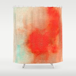 Abstract Watercolor Minimalist Rust Series - Untitled II orange turquoise marble Shower Curtain