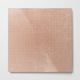 Vintage peach ivory polka dots brushstrokes pattern Metal Print