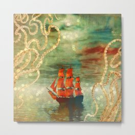 Octopus Ship Abstract Metal Print