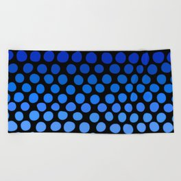 China Blue and Azure Blue Dots Ombre Beach Towel