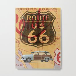 Route 66 Vintage Travel Poster Metal Print