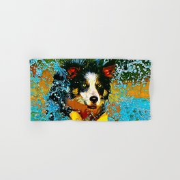 border collie jumping in water vector art Hand & Bath Towel