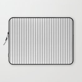 Mattress Ticking Narrow Striped Pattern in Charcoal Grey and White Laptop Sleeve