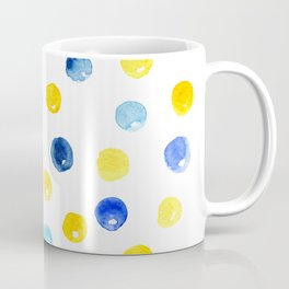 Blue and yellow marbles | Watercolor pattern Coffee Mug