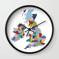 uk Wall Clocks featuring UK by Project M