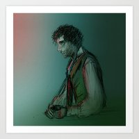 grantaire Art Prints featuring Grantaire by Flávia Marques