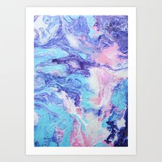 Unicorn Poop Purple, Pink, and Blue Pastel Fluid Acrylic Abstract Painting Art Print