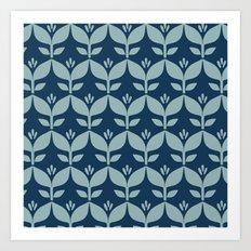 Navy blue retro tulip floral Art Print
