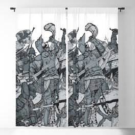 Saturday Knight Special STEEL BLUE / Vintage illustration redrawn and repurposed Blackout Curtain